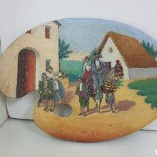 Arte: PALETA DE COLERES DE PINTOR DECORATIVA CON DIBUJO AL OLEO DE VALENCIA 24X16CMS. Lote 193920906