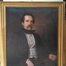 Arte: MAGNÍFICO RETRATO AL ÓLEO DE CABALLERO SIGLO XIX. ORIGINAL DE LA ÉPOCA. MARCO DORADO. Lote 193646500