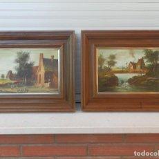 Arte: PAREJA DE ÓLEOS ORIGINALES ESCUELA HOLANDESA FIRMADOS Y ENMARCADOS.FIRMA ILEGIBLE.. Lote 193943890