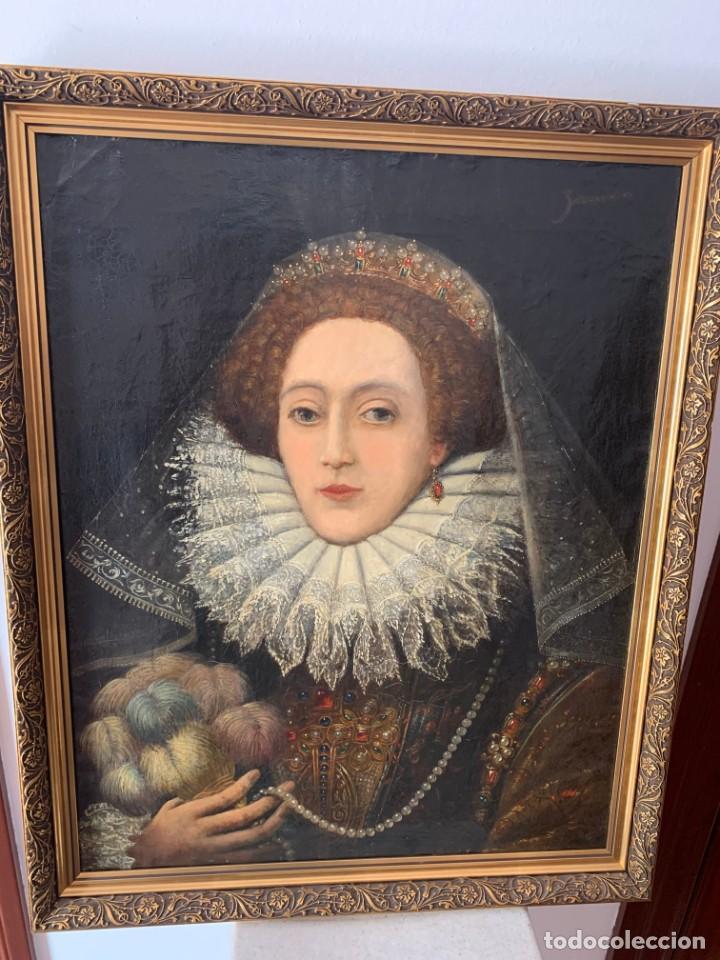 Arte: Impresionante oleo Federico Zuccaro, escuela, siglo XVIII. Retrato de la reina Isabel I Inglaterra - Foto 2 - 193983360