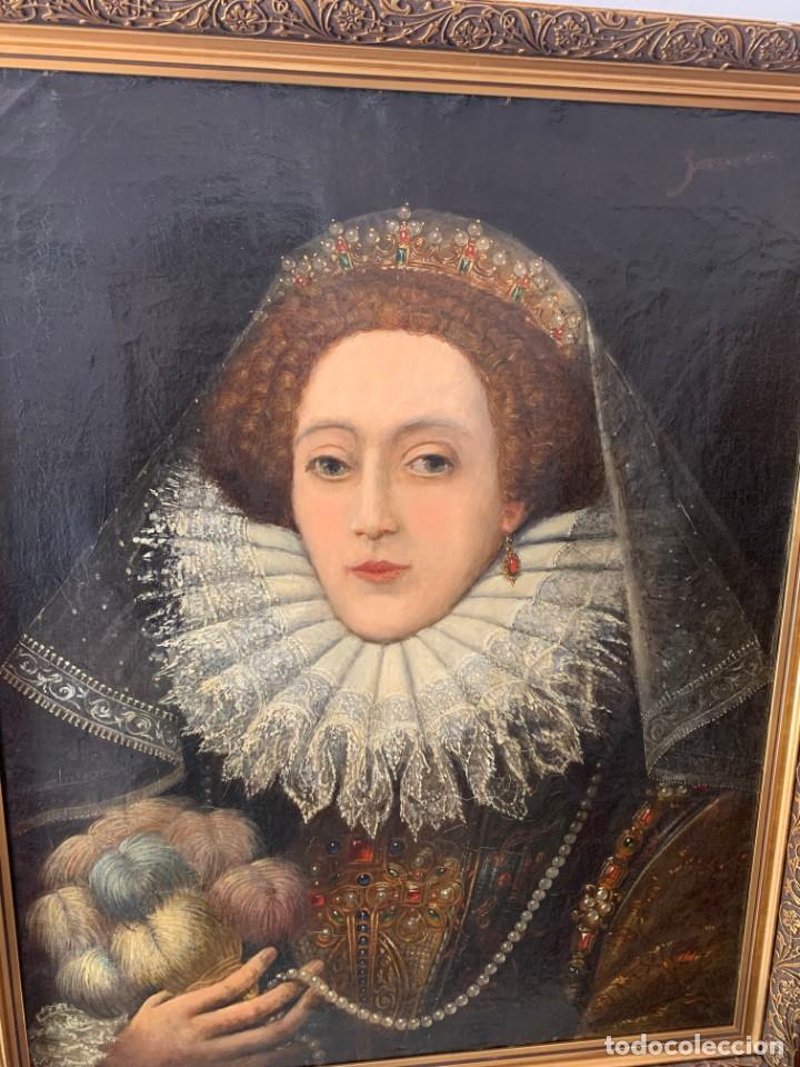 Arte: Impresionante oleo Federico Zuccaro, escuela, siglo XVIII. Retrato de la reina Isabel I Inglaterra - Foto 3 - 193983360