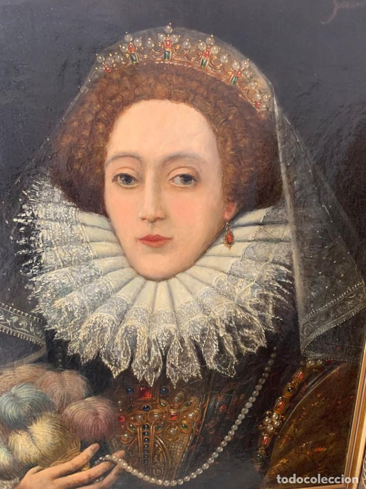 Arte: Impresionante oleo Federico Zuccaro, escuela, siglo XVIII. Retrato de la reina Isabel I Inglaterra - Foto 4 - 193983360