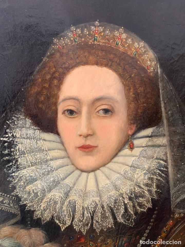 Arte: Impresionante oleo Federico Zuccaro, escuela, siglo XVIII. Retrato de la reina Isabel I Inglaterra - Foto 5 - 193983360