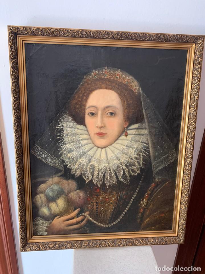 Arte: Impresionante oleo Federico Zuccaro, escuela, siglo XVIII. Retrato de la reina Isabel I Inglaterra - Foto 6 - 193983360