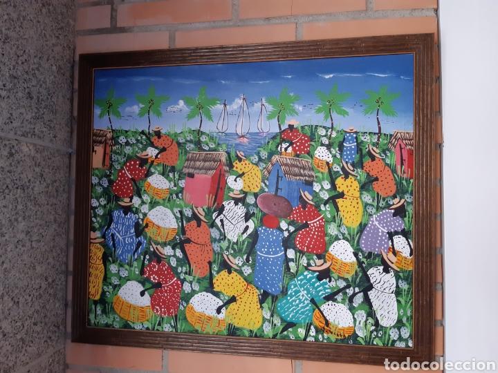 Arte: OLEO HAITÍ FIRMADO CAMPOS DE ALGODÓN - Foto 4 - 193983815