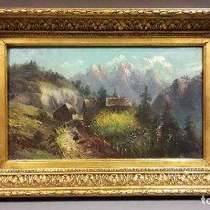 Arte: OLEO SOBRE LIENZO PAISAJE SIGLO XIX, CON MARCO DORADO. Lote 194006438