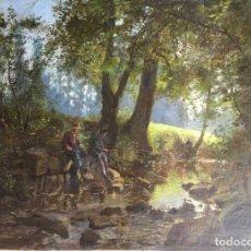 Art: MARINIER ERNEST (XIX).FRANCES DE LA ESCUELA DE BARBIZON.OLEO SOBRE TELA. Lote 194081955