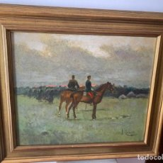 Arte: IMPRESIONANTE OLEO SOBRE LIENZO CABALLERIA DE JOSEP CUSACHS Y CUSAC (1851-1908). Lote 206234441
