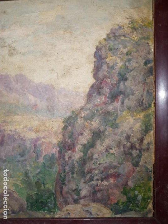 Arte: Escuela española pp S.XX Paisaje oleo sobre carton - Foto 2 - 194143760