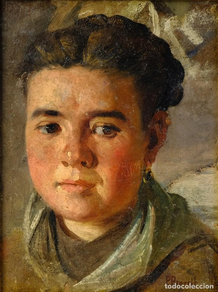 PERE BORRELL DEL CASO (1835-1910) ÓLEO SOBRE TABLA RETRATO DE NIÑA FIRMADO (Arte - Pintura - Pintura al Óleo Moderna siglo XIX)