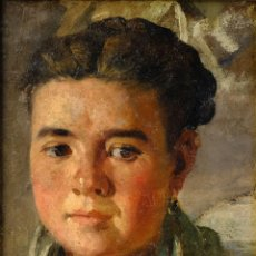Arte: PERE BORRELL DEL CASO (1835-1910) ÓLEO SOBRE TABLA RETRATO DE NIÑA FIRMADO. Lote 194149333