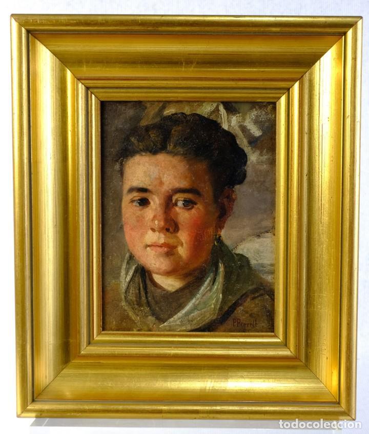 Arte: Pere Borrell del Caso (1835-1910) óleo sobre tabla Retrato de niña Firmado - Foto 2 - 194149333