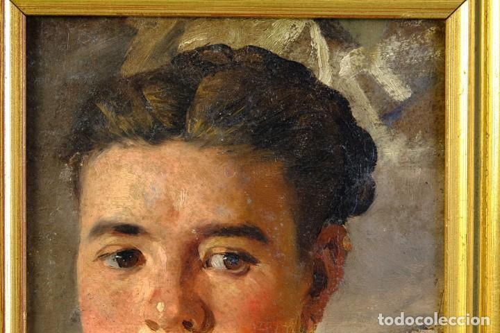 Arte: Pere Borrell del Caso (1835-1910) óleo sobre tabla Retrato de niña Firmado - Foto 3 - 194149333