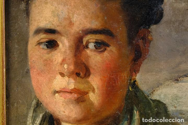 Arte: Pere Borrell del Caso (1835-1910) óleo sobre tabla Retrato de niña Firmado - Foto 4 - 194149333