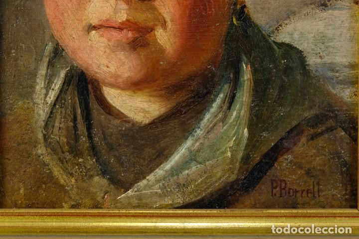 Arte: Pere Borrell del Caso (1835-1910) óleo sobre tabla Retrato de niña Firmado - Foto 5 - 194149333