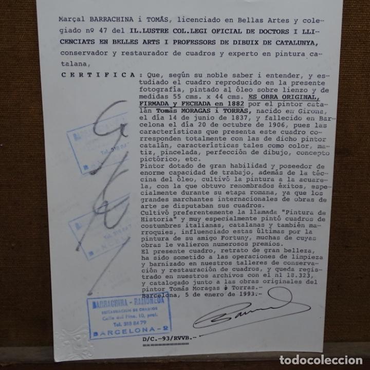 Arte: Excelente Óleo de Tomàs moragas i torras(girona 1837-bcn 1906).certificado barrachina.1882. - Foto 23 - 194156507