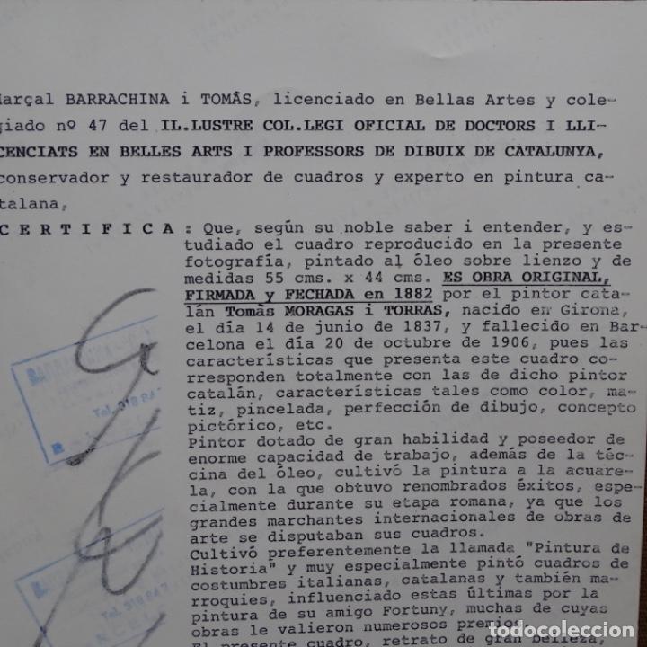 Arte: Excelente Óleo de Tomàs moragas i torras(girona 1837-bcn 1906).certificado barrachina.1882. - Foto 24 - 194156507