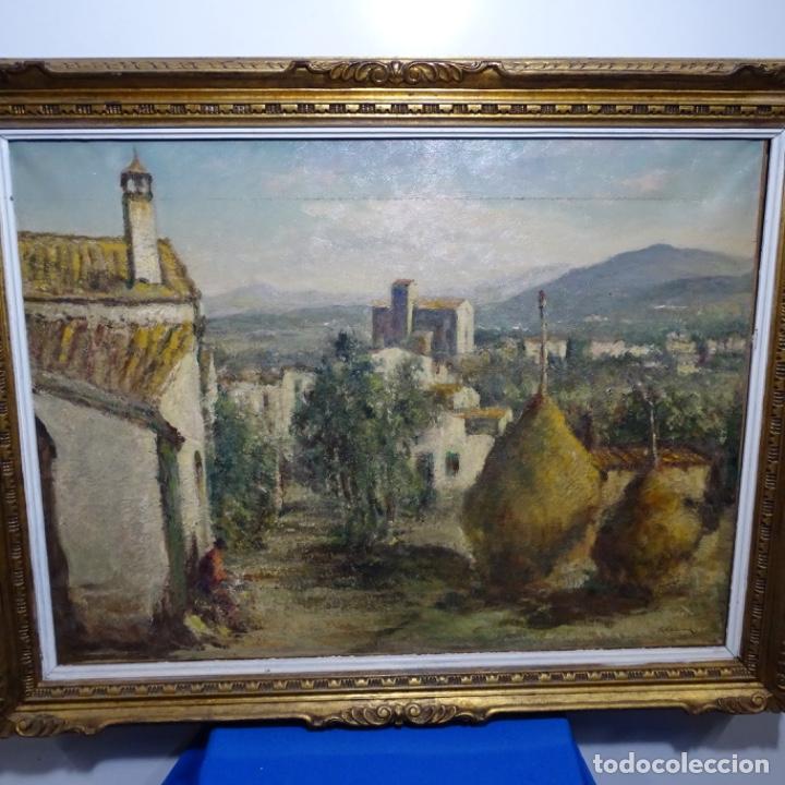 """ÓLEO DE JOAN COLOM I AGUSTI (ARENYS DE MAR 1879-1969).""""AL PALLE"""".ESTUVO EN EXPOSICIÓN. (Arte - Pintura - Pintura al Óleo Contemporánea )"""
