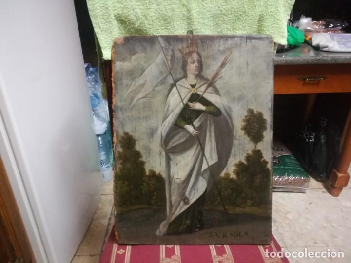 ESPECTACULAR Y PRECIOSA SANTA URSULA SIGLO XVIII EN TABLA MIREN FOTOS (Arte - Pintura - Pintura al Óleo Antigua siglo XVIII)