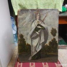 Arte: ESPECTACULAR Y PRECIOSA SANTA URSULA SIGLO XVIII EN TABLA MIREN FOTOS . Lote 194161328