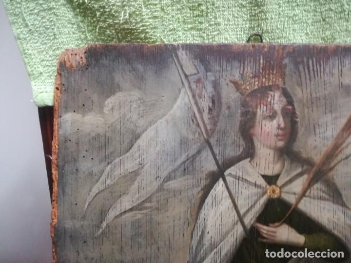 Arte: ESPECTACULAR Y PRECIOSA SANTA URSULA SIGLO XVIII EN TABLA MIREN FOTOS - Foto 8 - 194161328