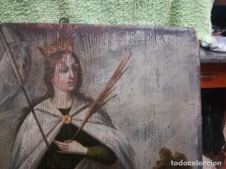 Arte: ESPECTACULAR Y PRECIOSA SANTA URSULA SIGLO XVIII EN TABLA MIREN FOTOS - Foto 9 - 194161328