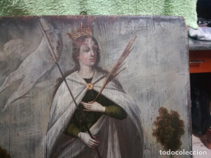 Arte: ESPECTACULAR Y PRECIOSA SANTA URSULA SIGLO XVIII EN TABLA MIREN FOTOS - Foto 12 - 194161328