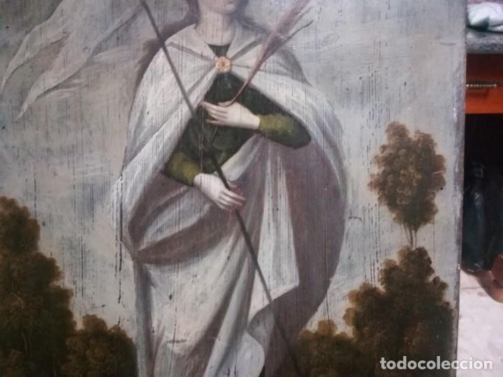 Arte: ESPECTACULAR Y PRECIOSA SANTA URSULA SIGLO XVIII EN TABLA MIREN FOTOS - Foto 13 - 194161328