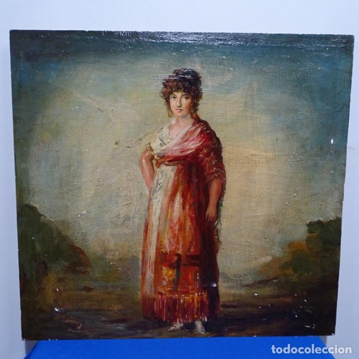 ÓLEO SOBRE TABLA ESCUELA LUCAS VELAZQUEZ-VILLAMIL.BUEN TRAZO. (Arte - Pintura - Pintura al Óleo Moderna siglo XIX)