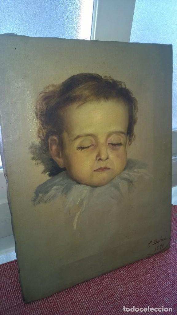 EDUARDO BALACA Y OREJAS-CANSECO(MADRID, 1840 - 1914)OLEO FIRMADO Y FECHADO 1870. RETRATO NIÑO MUERTO (Arte - Pintura - Pintura al Óleo Moderna siglo XIX)