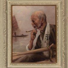 Arte: OLEO DE ARISU BIZAN SEÑOR CON PIPA SIGLO XX. Lote 194217148