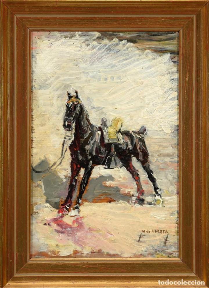 Arte: Óleo Marcelino de Unceta y López Caballo siglo XIX / XX - Foto 2 - 194219955