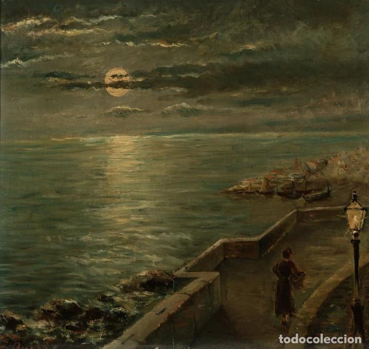 ÓLEO ESCUELA FRANCESA - J. DUPRE - PASEO MARÍTIMO SIGLO XIX (Arte - Pintura - Pintura al Óleo Antigua siglo XVII)