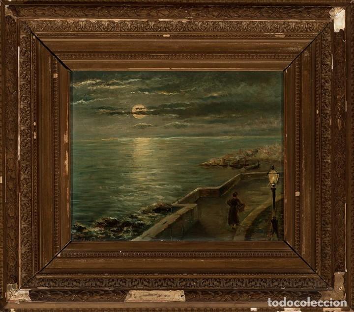 Arte: Óleo Escuela francesa - J. Dupre - Paseo Marítimo siglo XIX - Foto 2 - 194220726