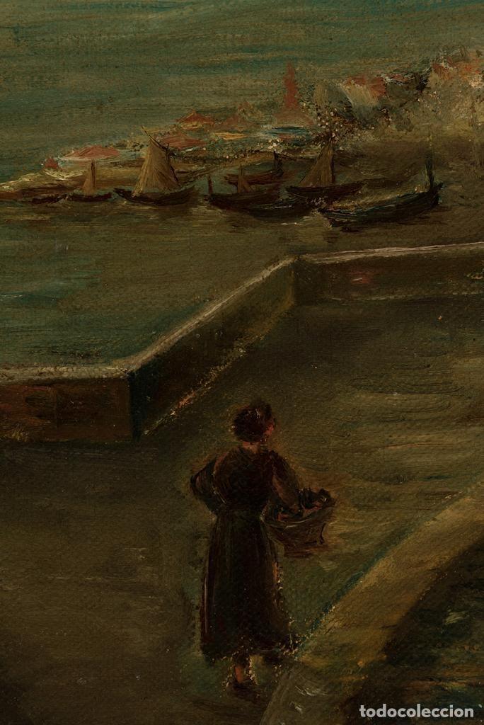 Arte: Óleo Escuela francesa - J. Dupre - Paseo Marítimo siglo XIX - Foto 3 - 194220726