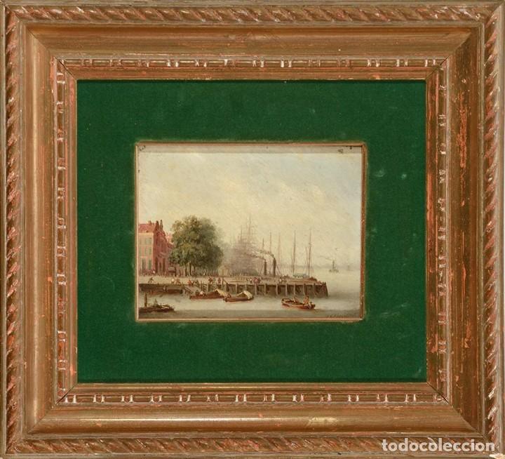 Arte: Óleo Escuela Holandesa siglo XIX Vista de la calle Boompjas, Rotterdam - Foto 2 - 194221751