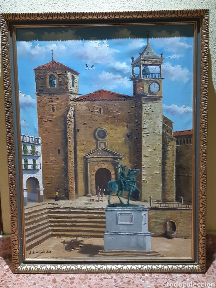 ESPECTACULAR CUADRO ANTIGUO FIRMADO POR EL PINTOR J.D. TRESPALACIOS (Arte - Pintura - Pintura al Óleo Moderna sin fecha definida)