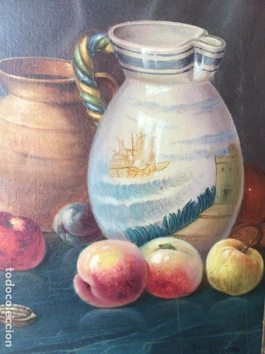 Arte: ANTIGUA PINTURA FIRMADA . MARAVILLOSO BODEGON OLEO SOBRE LIENZO - Foto 5 - 194226963