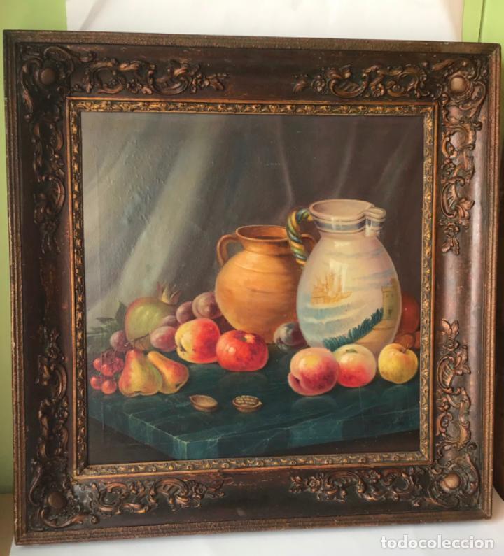 ANTIGUA PINTURA FIRMADA . MARAVILLOSO BODEGON OLEO SOBRE LIENZO (Arte - Pintura - Pintura al Óleo Moderna siglo XIX)
