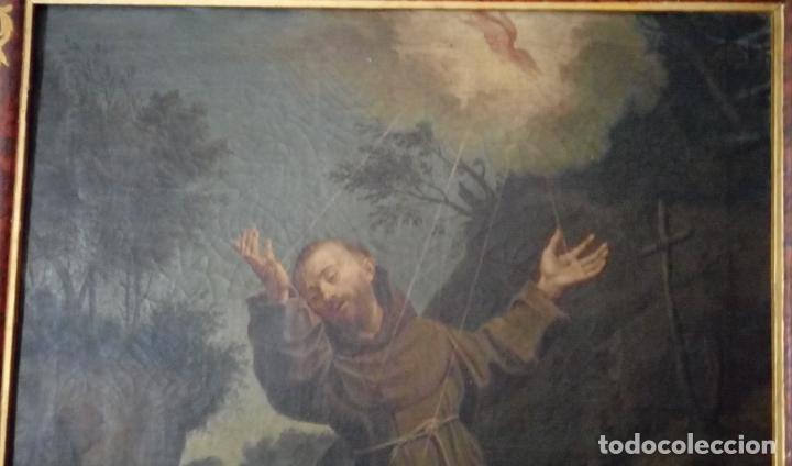 Arte: ÓLEO S/LIENZO S. XVII. SAN FRANCISCO RECIBIENDO LOS ESTIGMAS. CÍRCULO JUAN DE VALDÉS LEAL.82X70 CMS - Foto 2 - 194238880