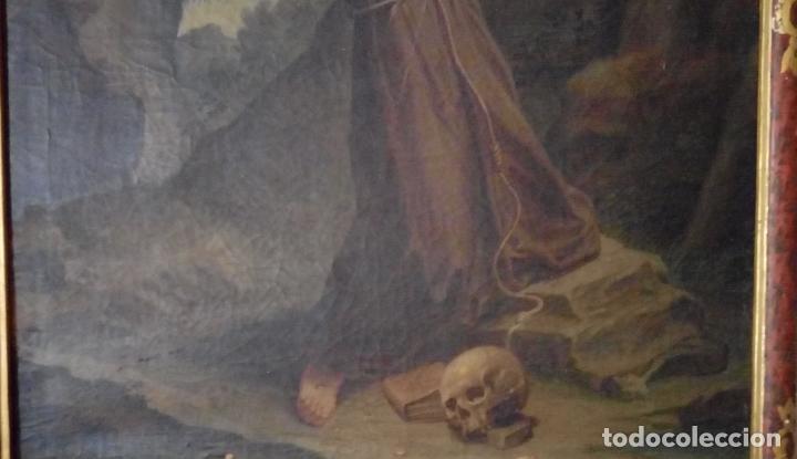 Arte: ÓLEO S/LIENZO S. XVII. SAN FRANCISCO RECIBIENDO LOS ESTIGMAS. CÍRCULO JUAN DE VALDÉS LEAL.82X70 CMS - Foto 4 - 194238880