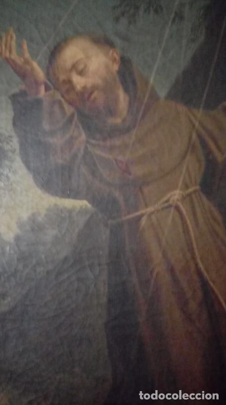 Arte: ÓLEO S/LIENZO S. XVII. SAN FRANCISCO RECIBIENDO LOS ESTIGMAS. CÍRCULO JUAN DE VALDÉS LEAL.82X70 CMS - Foto 8 - 194238880