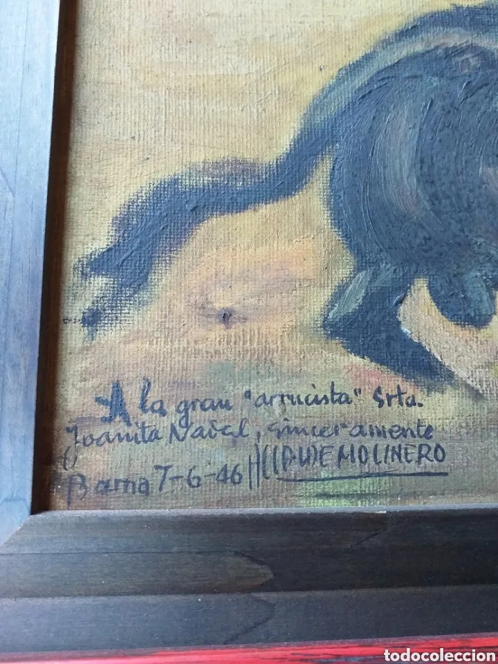 Arte: BONITO CUADRO PINTURA DE ALCALDE MOLINERO DEDICATORIA A JOANITA NADAL - Foto 2 - 194239116