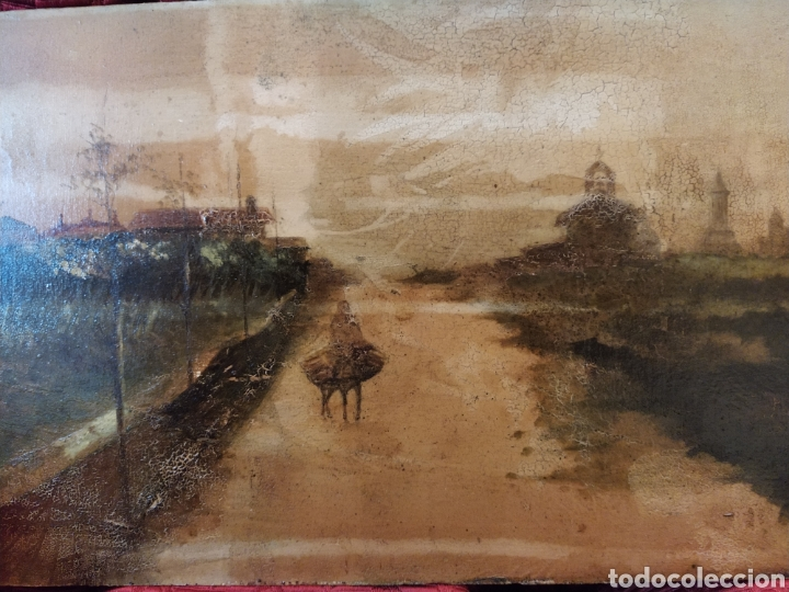 Arte: Óleo sobre tabla caoba paisaje con burro siglo XIX. - Foto 2 - 194240982