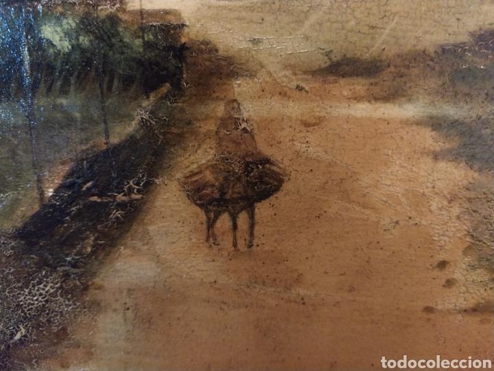 Arte: Óleo sobre tabla caoba paisaje con burro siglo XIX. - Foto 3 - 194240982
