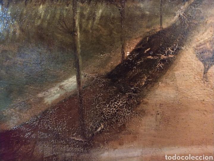Arte: Óleo sobre tabla caoba paisaje con burro siglo XIX. - Foto 4 - 194240982