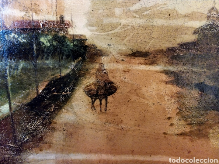 Arte: Óleo sobre tabla caoba paisaje con burro siglo XIX. - Foto 8 - 194240982