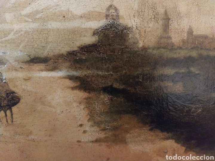 Arte: Óleo sobre tabla caoba paisaje con burro siglo XIX. - Foto 9 - 194240982