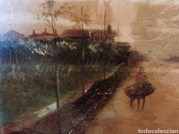 ÓLEO SOBRE TABLA CAOBA PAISAJE CON BURRO SIGLO XIX. (Arte - Pintura - Pintura al Óleo Moderna siglo XIX)