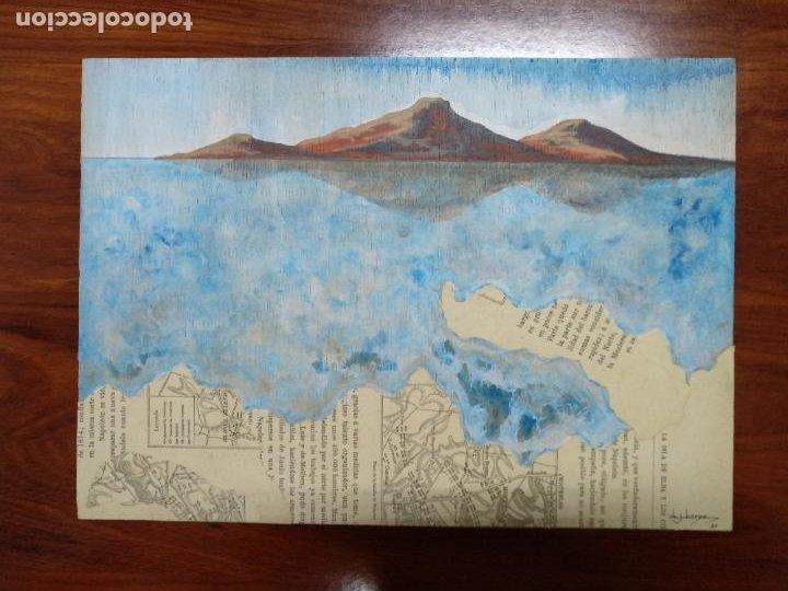 Arte: Volcanes. Acrílico sobre madera. Costa Amalfi. Italia. - Foto 2 - 194245435